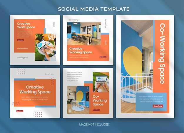 Co-working space social media business pack bundle template premium psd