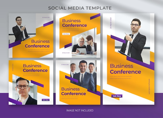 Co-working space social media business pack bundle template