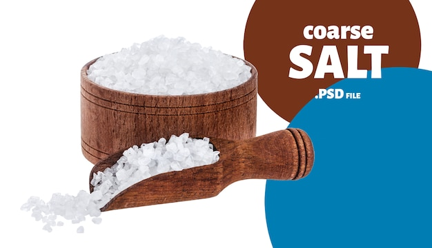 Coarse sea salt in wooden bowl with scoop