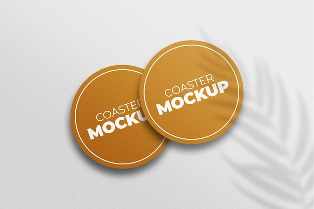 Coaster mockup design template with shadow