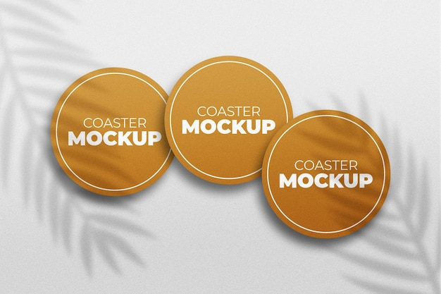 Coaster mockup isolated rendering with shadow