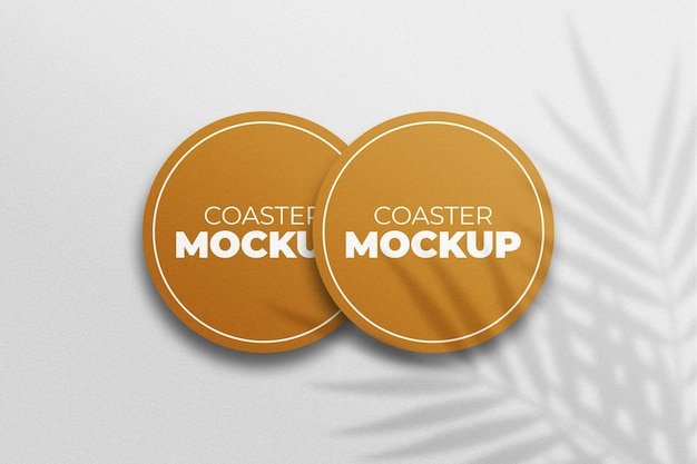 Coaster overlapped mockup with shadow