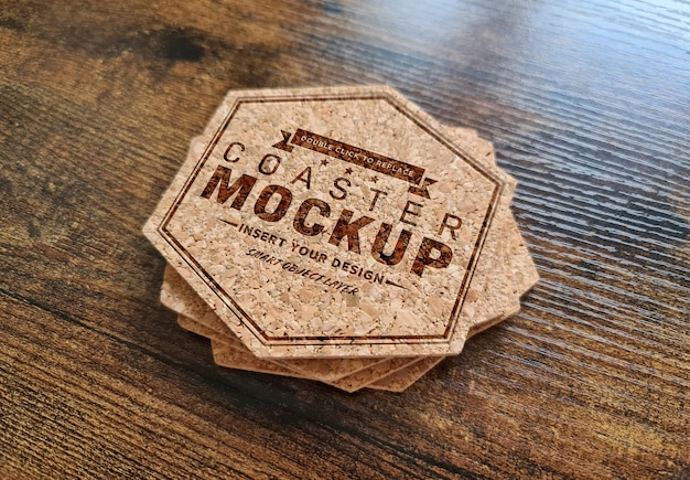 Coaster stack logo on wooden surface mockup