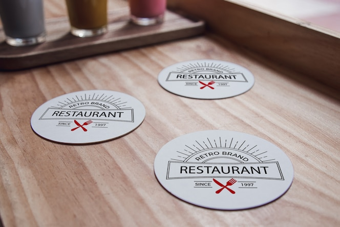 Coasters mock-up and organic smoothies