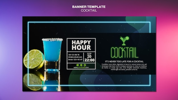 Cocktail concept banner template