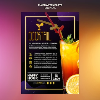 Cocktail concept flyer template