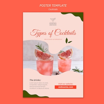Cocktail concept poster template