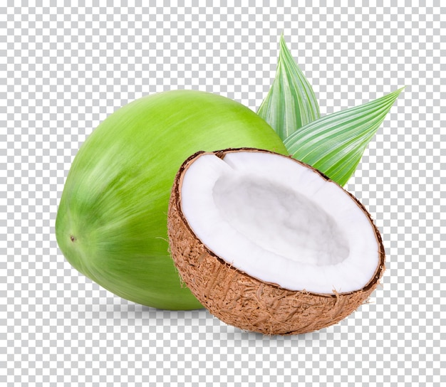 Coconut and half of coconut isolated