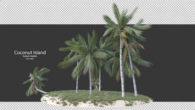 Кокосовая пальма в 3d-рендеринге, изолированные на острове