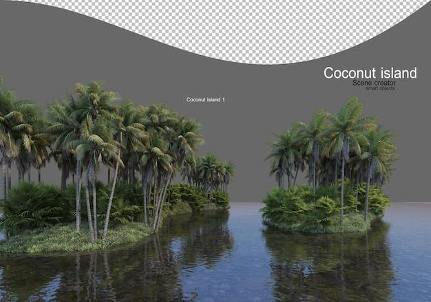 호수에서 코코넛 나무 섬