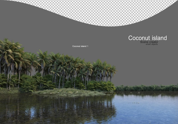 Coconut tree island in the lake