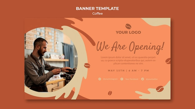Coffe concept banner template mock-up