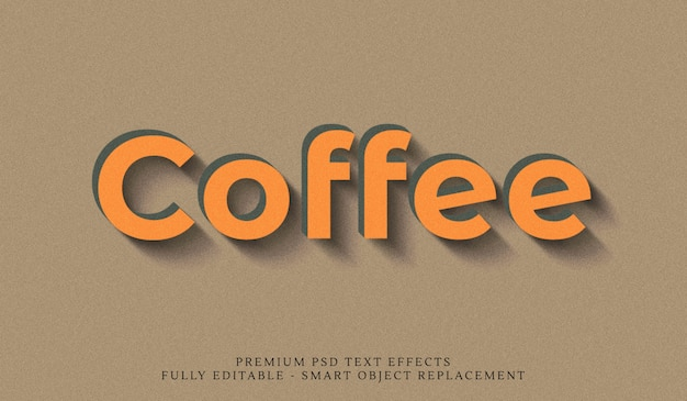 Coffee 3d text style effect psd