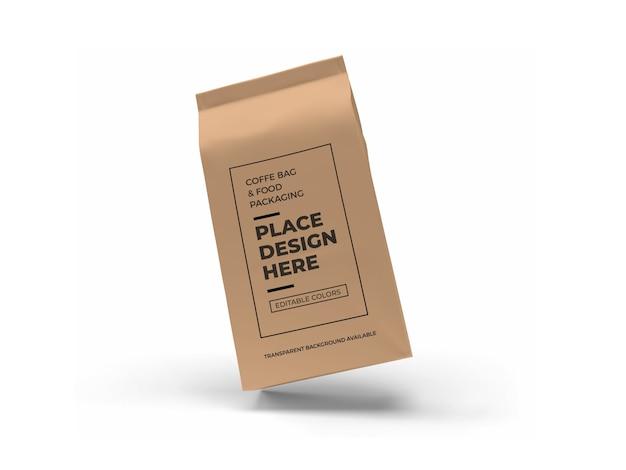 分離されたコーヒーとフードバッグのパッケージのモックアップデザイン
