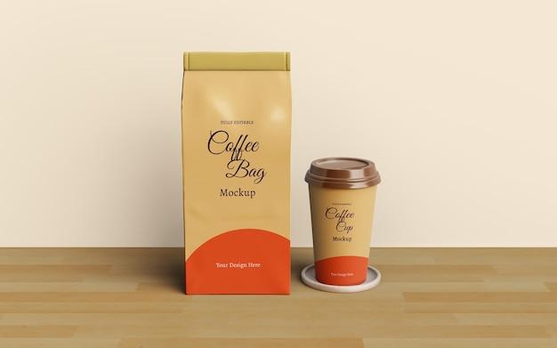 Кофейный пакет и дизайн макета упаковки кофейной чашки