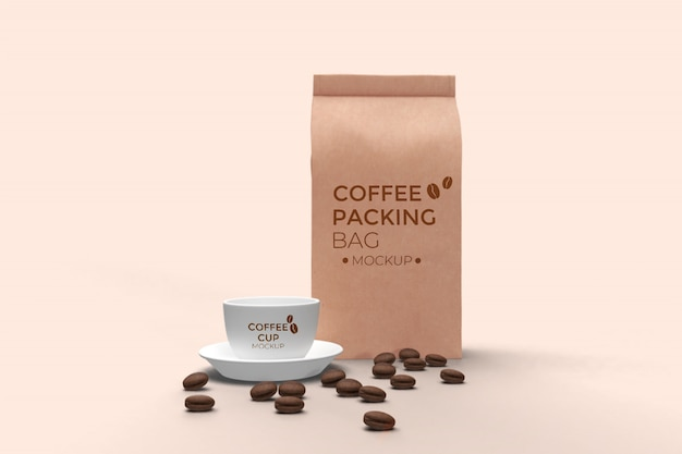 Coffee bag and coffee cup front view mockup psd