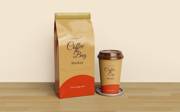 Coffee bag and coffee cup packaging mockup design