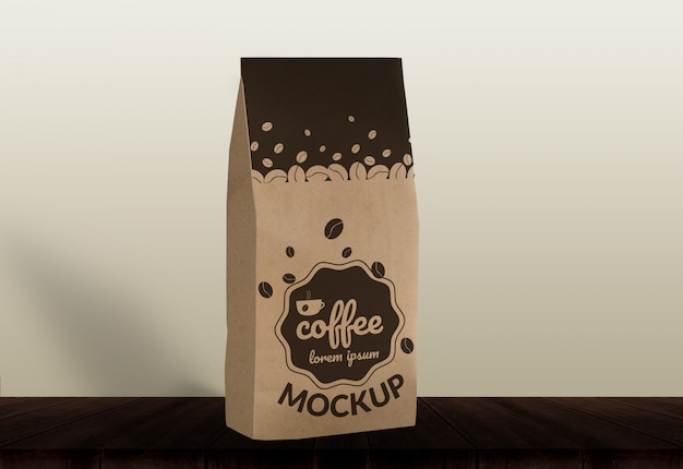 Coffee bag mock-up wood background