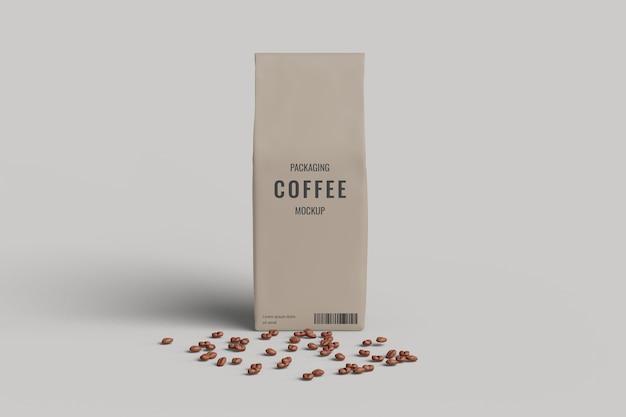 Макет кофейного мешка, вид спереди с кофейным зерном