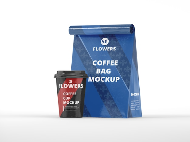 Coffee bag with cup mockup