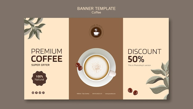 Coffee banner template with discount