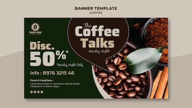 Coffee banner with discount