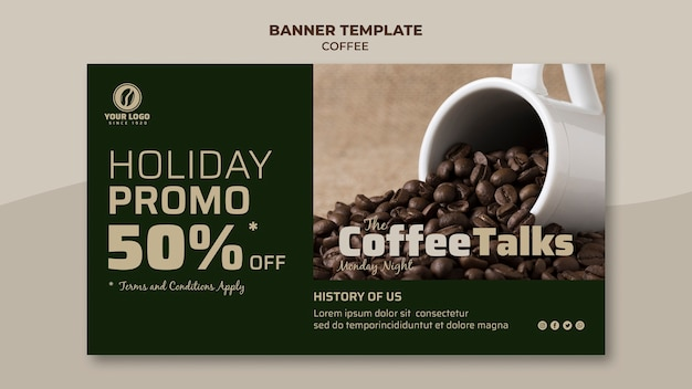 Coffee banner with promotion