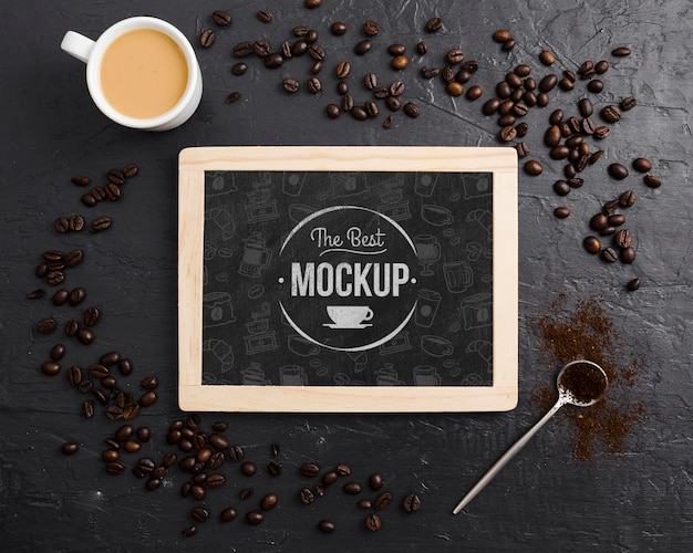 Coffee beans and cup of coffee mock-up