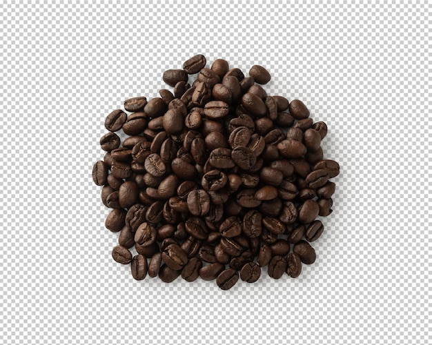 Coffee beans top view isolated