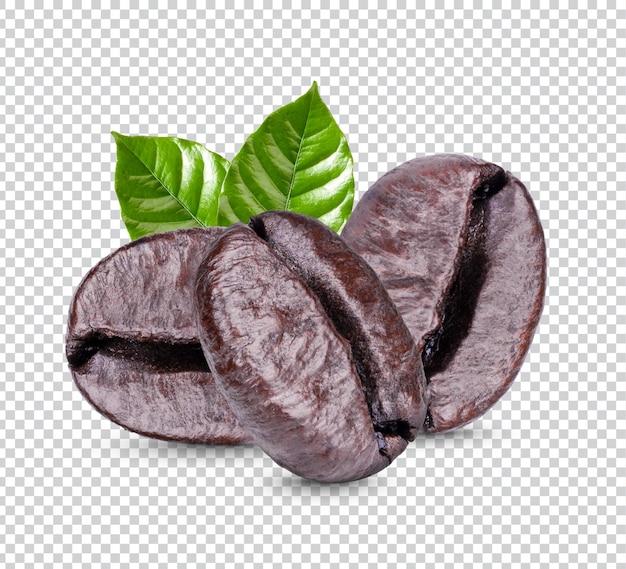 Кофейные зерна с листьями изолированные Premium Psd