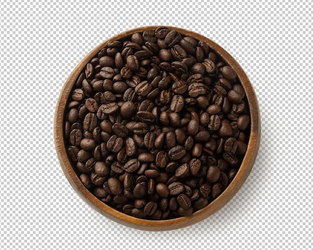 Coffee beans in wooden bowl isolated