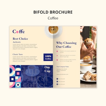 Coffee bifold brochure template