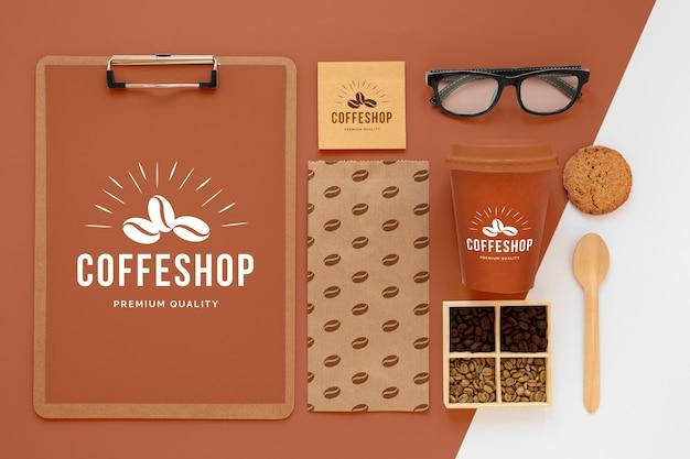 Concetto di branding del caffè sopra la vista