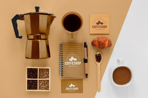 콩 플랫 누워 커피 브랜딩 개념
