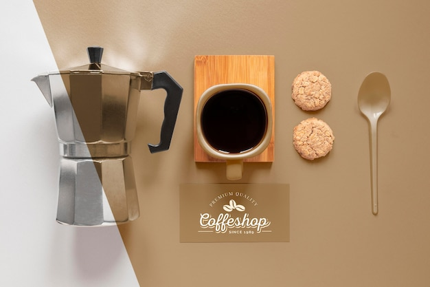 Coffee branding items arrangement  flat lay