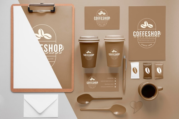 Coffee branding items arrangement