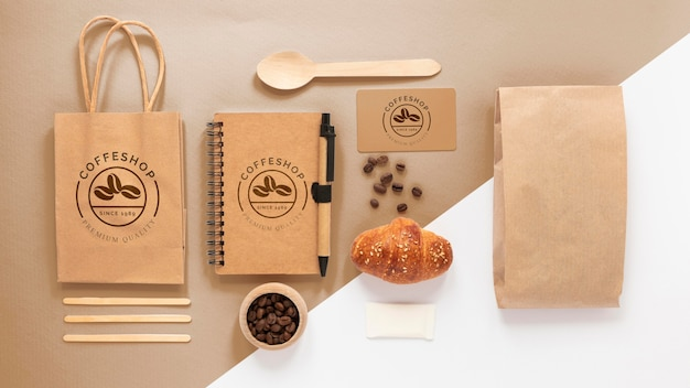 Coffee branding items above view