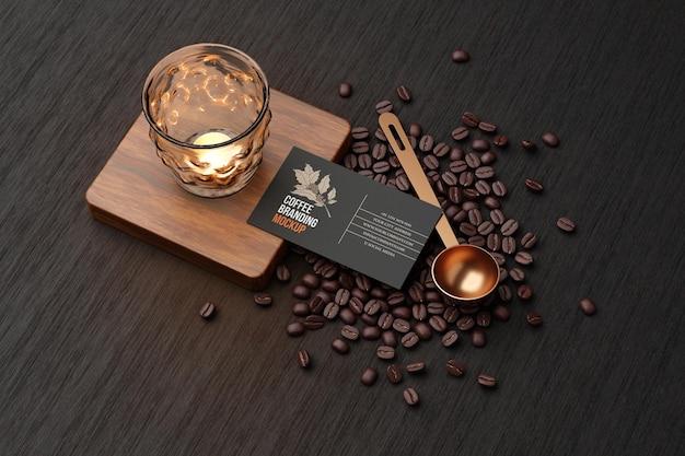 Coffee branding mockup in black theme