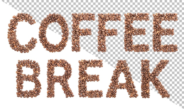 Coffee break word made from coffee beans