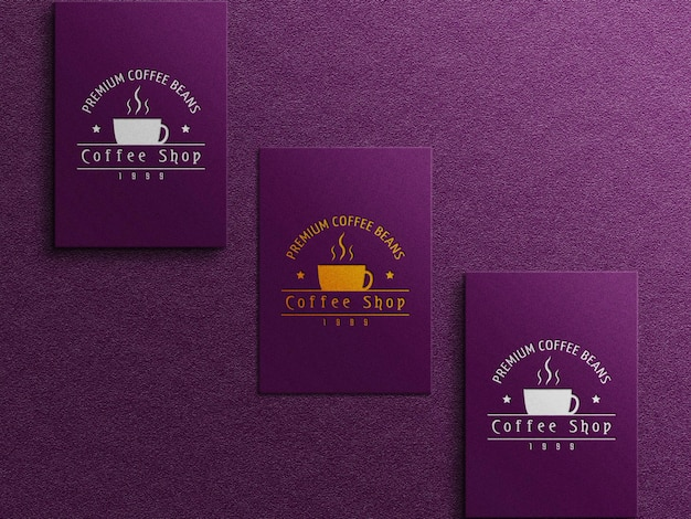 Coffee business card logo mockup with embossed and debossed effect