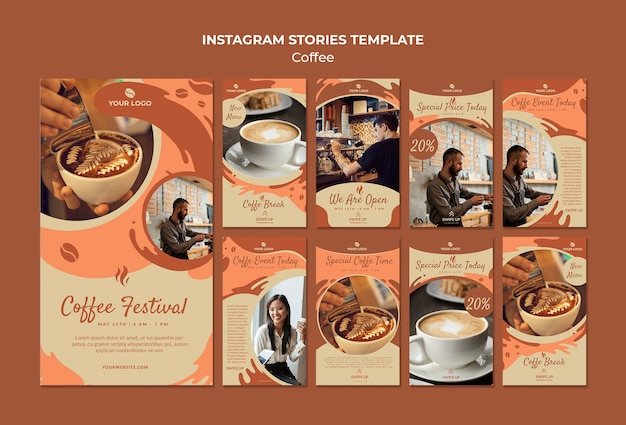 Coffee concept instagram stories template mock-up