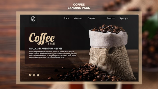Coffee concept landing page template