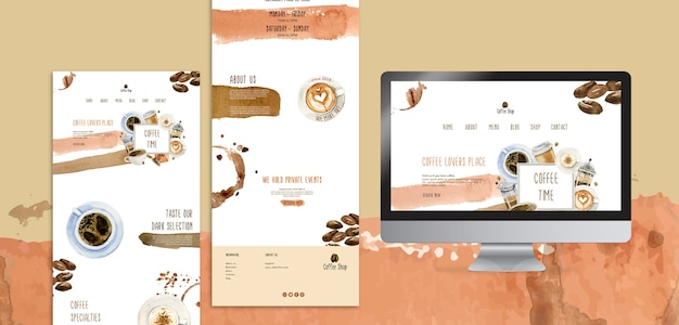 Coffee concept for media post template Free Psd