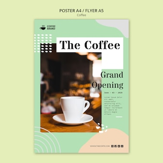 Coffee concept poster template Free Psd