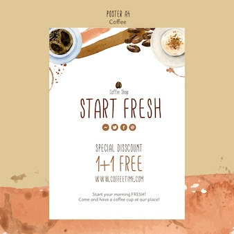 Coffee concept for poster template Free Psd