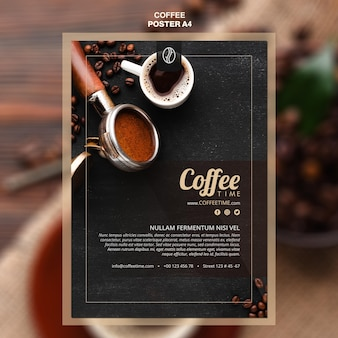 Шаблон плаката концепции кофе