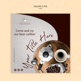 Coffee concept square flyer style