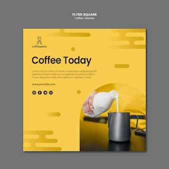 Coffee concept squared flyer template
