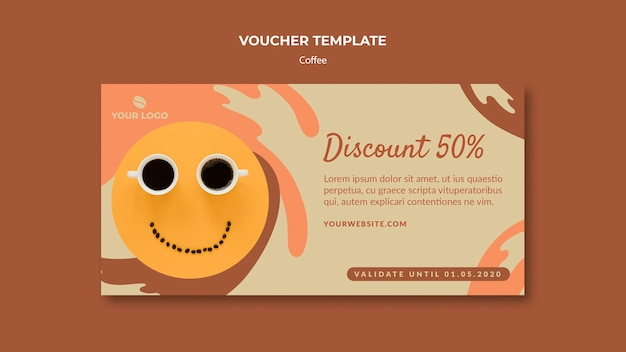 Coffee concept voucher template mock-up