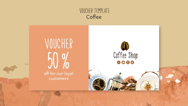 Coffee concept for voucher template Free Psd